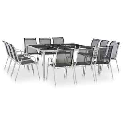 vidaXL 13 Piece Outdoor Dining Set Black Patio Furniture