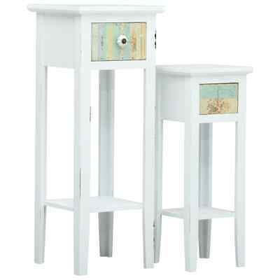 vidaXL 2 Pieces Side Table Set White MDF Bedside Cabinet