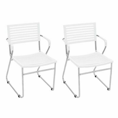 vidaXL 2x Armchair Stackable with Iron Frame Plastic White