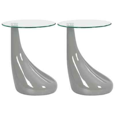 vidaXL 2x Coffee Tables with Round Glass Top High Gloss Grey