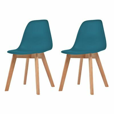 vidaXL 2x Dining Chair Turquoise Solid Wood Leg Plastic Seat