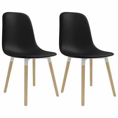 vidaXL 2x Dining Chairs Black Plastic Seat Dining Room