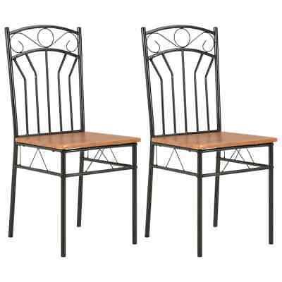 vidaXL 2x Dining Chairs Brown MDF Side End Kitchen Furniture