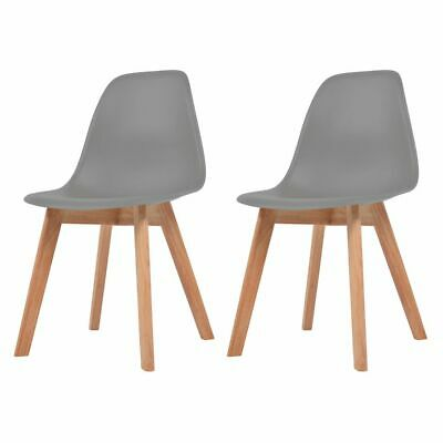 vidaXL 2x Dining Chairs Grey Solid Wood Leg Plastic Seat