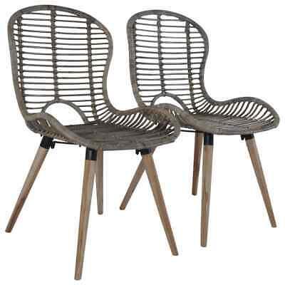 vidaXL 2x Dining Chairs Natural Rattan Brown Outdoor Garden