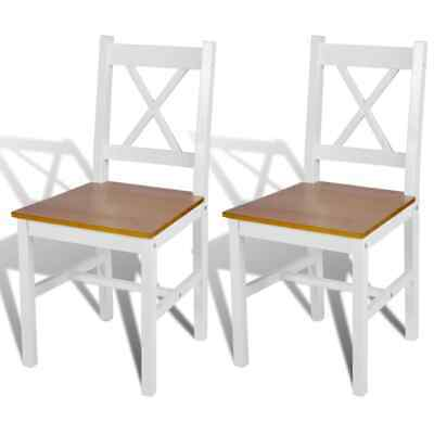 vidaXL 2x Dining Chairs Wood White and Natural Colour