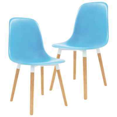 vidaXL 2x Dining Chairs Wooden Legs Plastic Blue Kitchen