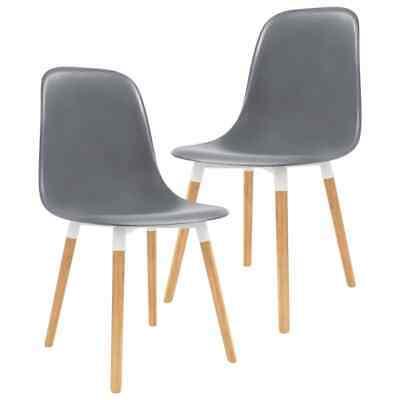 vidaXL 2x Dining Chairs Wooden Legs Plastic Grey Dinner