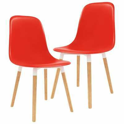 vidaXL 2x Dining Chairs Wooden Legs Plastic Red Kitchen