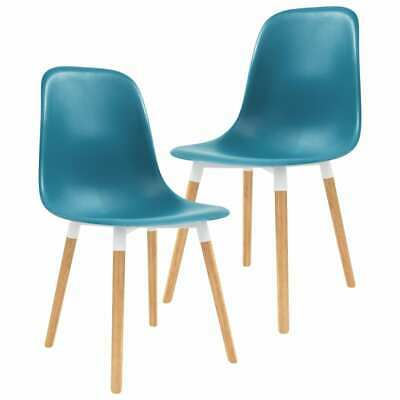 vidaXL 2x Dining Chairs Wooden Legs Plastic Turquoise