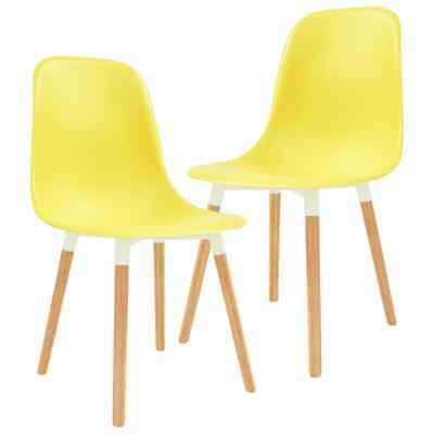 vidaXL 2x Dining Chairs Wooden Legs Plastic Yellow Kitchen