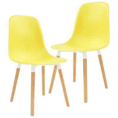 vidaXL 2x Dining Chairs Wooden Legs Plastic Yellow Kitchen