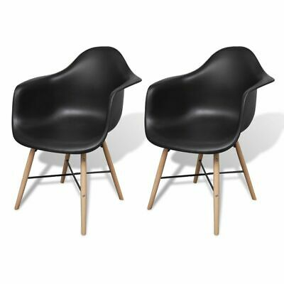 vidaXL 2x Dining Chairs with Beechwood Legs Black Kitchen