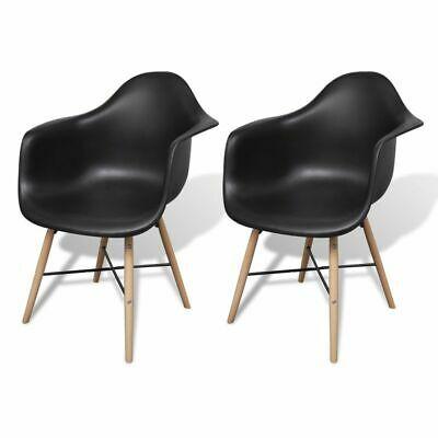vidaXL 2x Dining Chairs with Beechwood Legs Black Kitchen