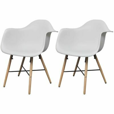 vidaXL 2x Dining Chairs with Beechwood Legs White Kitchen