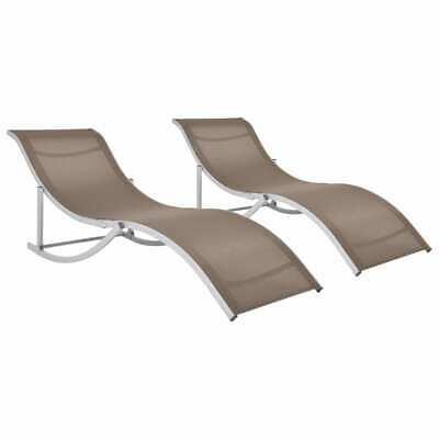 vidaXL 2x Folding Sun Loungers Taupe Textilene Beach Chaise