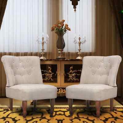 vidaXL 2x French Chair Cream Fabric Classic Sofa TV Chair