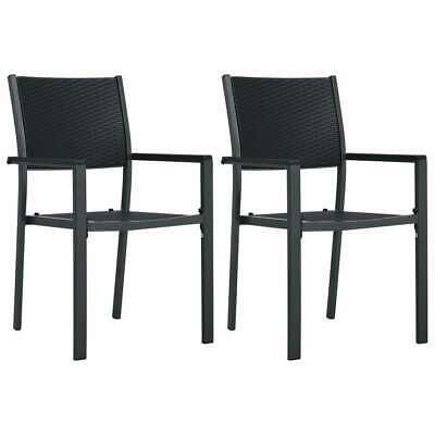 vidaXL 2x Garden Chairs Black Plastic Rattan Look Outdoor
