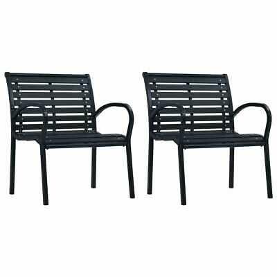 vidaXL 2x Garden Chairs Black Steel and WPC Outdoor Patio