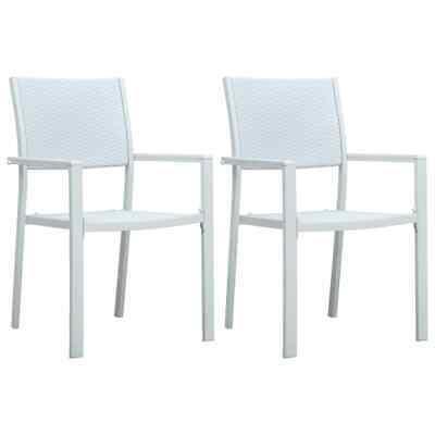 vidaXL 2x Garden Chairs White Plastic Rattan Look Outdoor