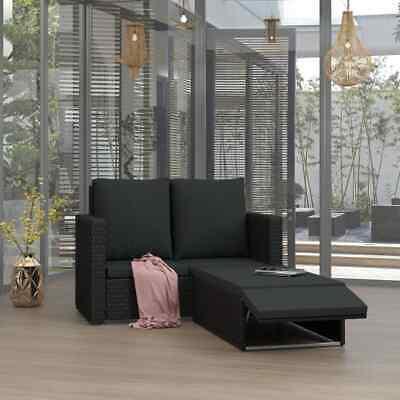 vidaXL 2x Garden Lounge Set with Cushions Poly Rattan Black
