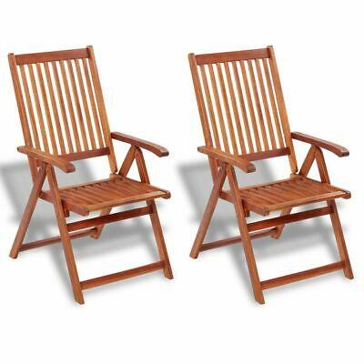 vidaXL 2x Outdoor Dining Chairs Acacia Wood Garden Patio