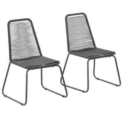 vidaXL 2x Outdoor Dining Chairs Poly Rattan 54x59x91cm Black