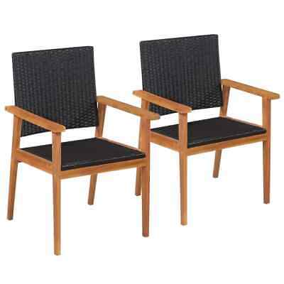vidaXL 2x Outdoor Dining Chairs Poly Rattan 56x61x88cm Black