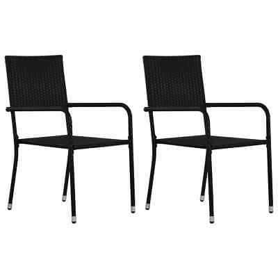 vidaXL 2x Outdoor Dining Chairs Poly Rattan Black Furniture