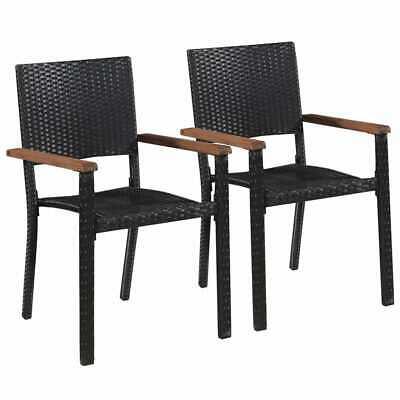 vidaXL 2x Outdoor Dining Chairs Poly Rattan Black Garden