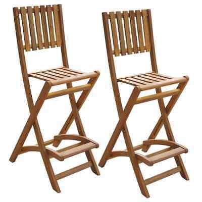 vidaXL 2x Outdoor Folding Bar Chairs Acacia Wood Garden