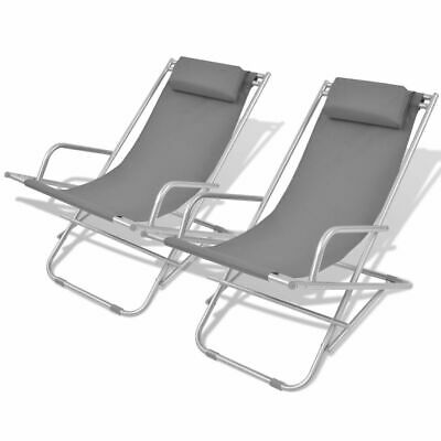 vidaXL 2x Reclining Deck Chairs Grey Steel Outdoor