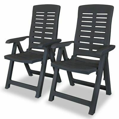 vidaXL 2x Reclining Garden Chairs 60x61x108cm Plastic
