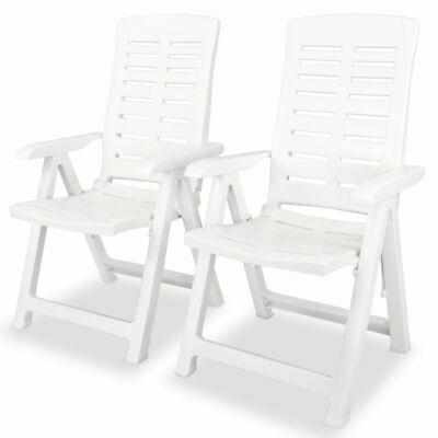 vidaXL 2x Reclining Garden Chairs 60x61x108cm Plastic White