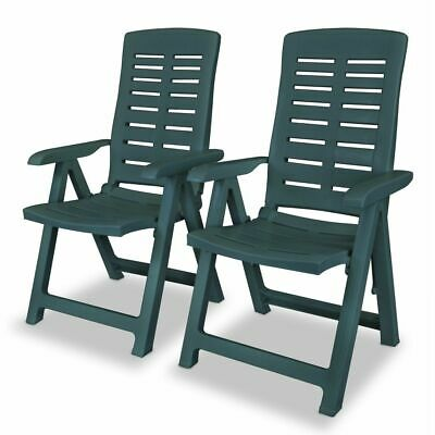 vidaXL 2x Reclining Garden Chairs Plastic Green Outdoor