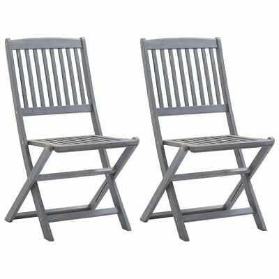 vidaXL 2x Solid Acacia Wood Folding Outdoor Chairs Garden
