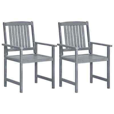 vidaXL 2x Solid Acacia Wood Garden Chairs Grey Outdoor Patio