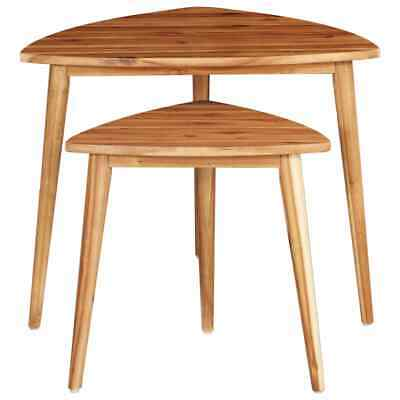vidaXL 2x Solid Acacia Wood Nesting Tables Coffee End Couch