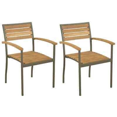 vidaXL 2x Solid Acacia Wood Steel Outdoor Stacking Dining