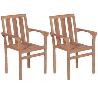 vidaXL 2x Solid Teak Wood Stacking Garden Chairs Outdoor