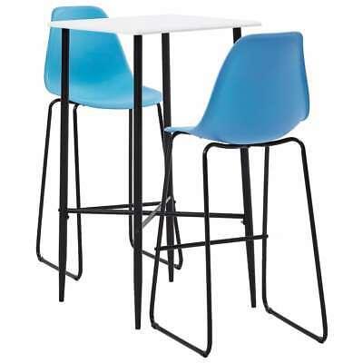 vidaXL 3 Piece Bar Set Plastic Blue Pub Bistro Dining