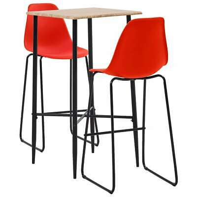 vidaXL 3 Piece Bar Set Plastic Red Pub Bistro Dining