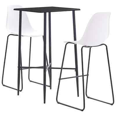 vidaXL 3 Piece Bar Set Plastic White Pub Bistro Dining