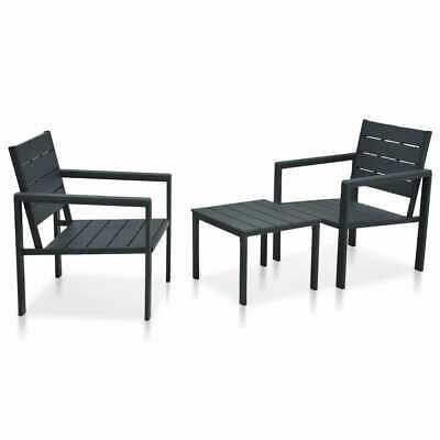 vidaXL 3 Piece Bistro Set Wood Look HDPE Grey Outdoor Dining