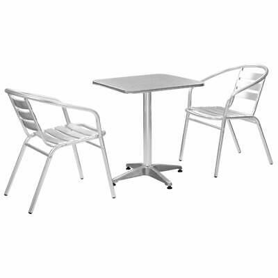 vidaXL 3 Piece Bistro Set with Square Table Silver Aluminium