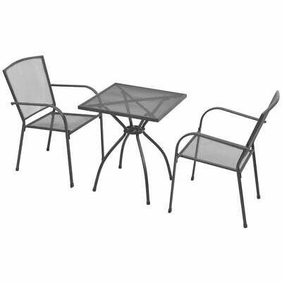 vidaXL 3 Piece Outdoor Bistro Set Steel Mesh Garden Table