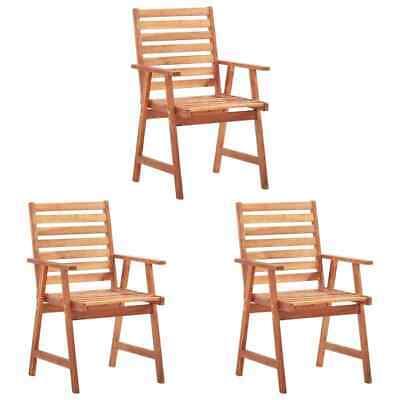 vidaXL 3x Solid Acacia Wood Outdoor Dining Chairs Garden