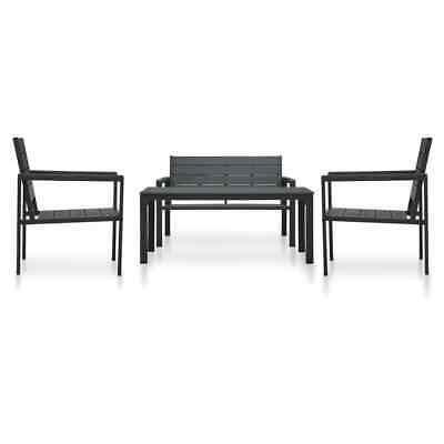 vidaXL 4 Piece Garden Lounge Set HDPE Black Wood Look Coffee