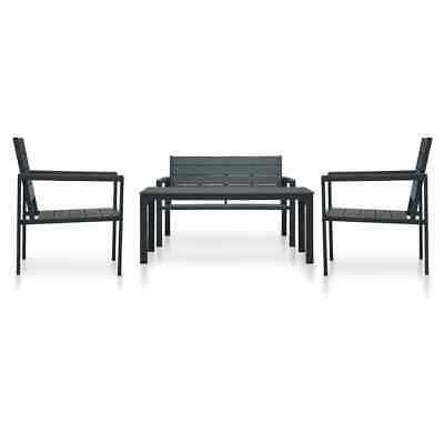 vidaXL 4 Piece Garden Lounge Set HDPE Grey Wood Look Outdoor