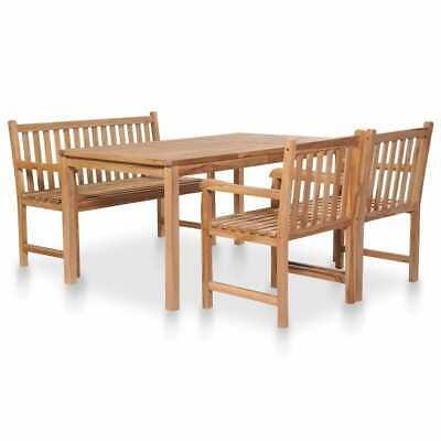 vidaXL 4 Piece Solid Teak Wood Outdoor Dining Set Garden